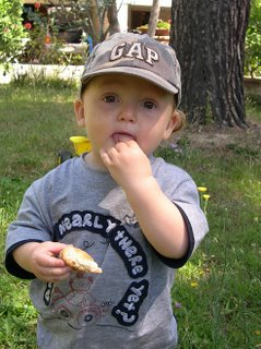 Keean says goodbye the only way he knows how by eating a leaf. And, yes, his shirt does say 'are we nearly there yet?'