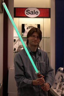 Pete with light sabre